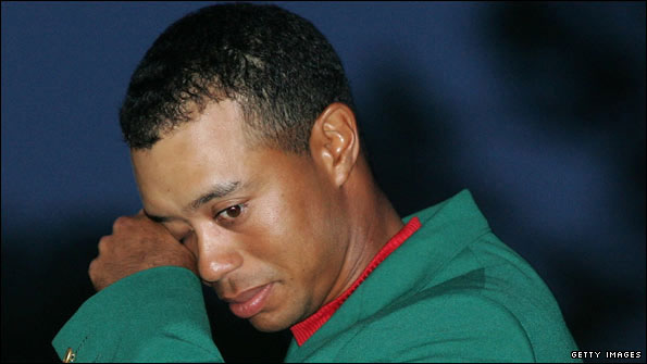 Sad Tiger Woods